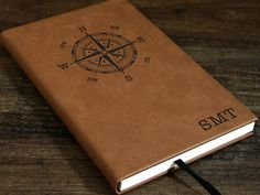 Personalized Travel Journal - 5 x 8 x Engraving will be black on all colors except RUSTIC BROWN and BLACK options) - Rustic Brown engraves to Gold - Black engraves to Silver or Gold Custom requests are welcome and more design options available here Ribbon Bookmarks, Leather Journal, Compass Tattoo, Blue And Silver, All The Colors, Initials, Custom Design, Monogram, Messages