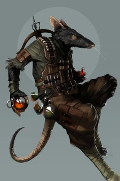 A Ratfolk Alchemist a player had commissioned for a game I ran #ratfolk #ratkin