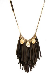 Leather-Fringed-Sentiment-Necklace £85.00 See more at www.catewoodcollections.co.uk