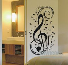 stave note music removable vinyl wall decals by wiwicoco on Etsy -- fun for a music teacher