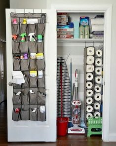 New Cleaning Closet Organisation Dollar Stores Shelves Ideas Organisation Hacks, Small Apartment Organization, Storage Hacks, Organizing Your Home, Diy Organization, Organizing Solutions, Storage Ideas, Organizing Ideas, Storage Solutions