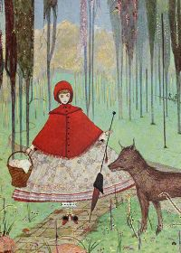 """Little Red Riding-Hood: """"He asked her whither she was going."""" Little Red Riding-Hood: """"He asked her whither she was going."""" Harry Clarke Illustrations: The Fairy Tales of Charles Perrault Harry Clarke, Framed Wall Art, Framed Art Prints, Painting Prints, Painting Art, Paintings, Children's Book Illustration, Illustrations, Charles Perrault"""