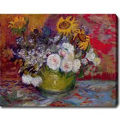 Vincent van Gogh 'Still Life with Roses and Sunflowers' Oil on Canvas Art