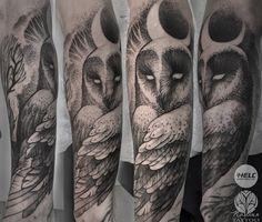 Original tattoo owl moon hell prague
