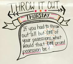 Throw It Out Thursday-white board messages Morning Activities, Writing Activities, Classroom Activities, Classroom Ideas, Mindfulness Activities, Teaching Resources, Daily Writing Prompts, Daily Journal Prompts, Journal Topics