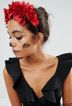Discover Halloween costumes for women at ASOS. Browse the latest Halloween ideas and our spooky halloween range from dresses to make up. Shop now at ASOS. Visage Halloween, Maquillage Halloween Simple, Halloween Makeup Sugar Skull, Cute Halloween Makeup, Sugar Skull Makeup, Halloween Eyes, Halloween Makeup Looks, Diy Halloween Costumes, Sugar Skull Costume