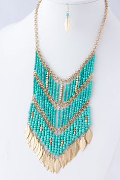 Turquoise Boho Bib Necklace Set on Emma Stine Limited