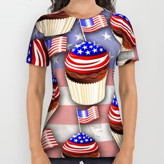 SOLD! #USA #Flag #Cupcakes #Pattern #alloveprint #Tshirts - #Design by #BluedarkArt - Many Thanks to the Buyer! :) >> https://society6.com/product/usa-flag-cupcakes-pattern_all-over-print-shirt#s6-2347128p44a57v425      @society6
