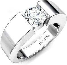 ctw Round Diamond Sterling Silver Solitaire Wedding Ring for Men. Sterling Silver Wedding Rings, Wedding Rings Solitaire, Mens Silver Rings, Silver Man, Diamond Engagement Rings, Rings For Men, Men's Diamond Rings, Wedding Ring For Men, Weding Ring