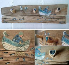 Painted wood by Valeriane Leblond Painted wood with a hint of naif – Valériane Leblond Painted Driftwood, Driftwood Crafts, Painted Wood, Beach Crafts, Diy Crafts, Decoration Crafts, Seaside Decor, Nature Crafts, Beach Art