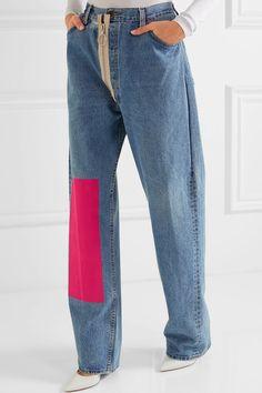 Off-White | Velvet-paneled distressed high-rise boyfriend jeans | NET-A-PORTER.COM