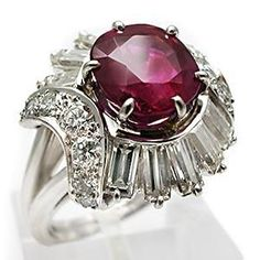 natural ruby engagement rings | NATURAL RUBY & DIAMOND BALLERINA COCKTAIL RING SOLID PLATINUM
