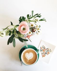 Ranunculus and coffee hearts.