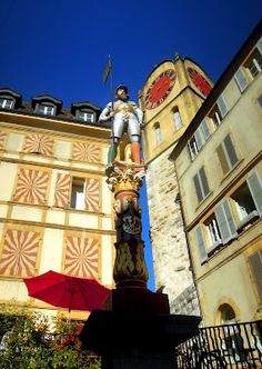 A Statue off the town square in Neuchatel Switzerland. Kind of trippy...