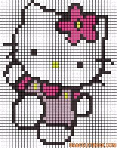 Hello Kitty flower, use as a latch hook rug pattern