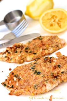 Almond-Crusted Chicken Schnitzel - Max Phase (could drop the lemon for the Cleanse Phase)