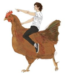 And here we have Louis Tomlinson riding a giant chicken created by someone in the fandom who truly understands Louis