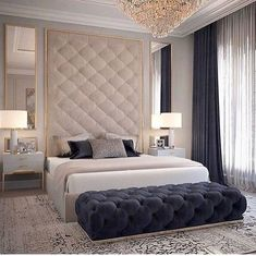 Discover the Ultimate Master Bedroom Styles and Inspirations Nightstands, beds, side tables, cabinets or armchairs are some of the luxury bedroom furniture tips that you can find. Every detail matters when we are decorating our master bedroom, right? Modern Luxury Bedroom, Luxury Bedroom Furniture, Luxury Bedroom Design, Master Bedroom Design, Luxury Home Decor, Luxury Interior Design, Luxurious Bedrooms, Home Bedroom, Bedroom Classic