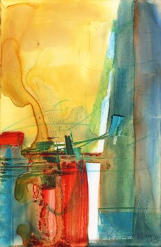 Original Abstract Painting Mixed Media on Yupo