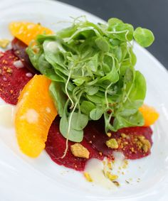 Beet Carpaccio, Orange, and Mache Salad with Champagne Vinaigrette and Crushed Pistachios- Footers Catering Denver, CO