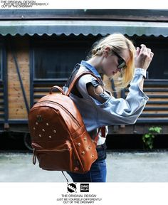 Japan and Korean Style Rivets Orn PU Casual Backpacks Brown for Women