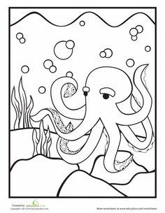 Octopus Coloring Sheet CraftsOcean