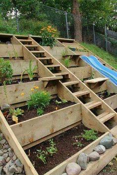 Creative DIY solution for a hilly or uneven backyard to plant flowers or other