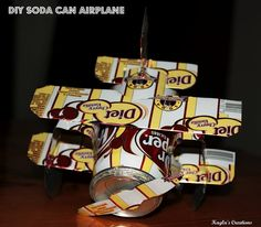 Soda can airplane tutorial Pop Can Crafts, Crafts For Kids, Arts And Crafts, Cool Diy Projects, Craft Projects, Projects To Try, Craft Ideas, Cork Crafts, Diy Crafts