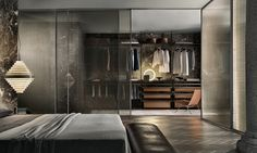 """Zenit"" walk-in closet with brown aluminum uprights, castoro regenerated leather and coal larch melamine accessories. (by Rimadesio)"