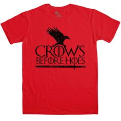 Crows Before Hoes T Shirt - Red / Small