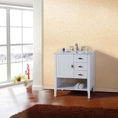 Bellaterra - 30 In. Single Sink Vanity in White with Marble Top in White - 7616-WH-WH - Home Depot Canada