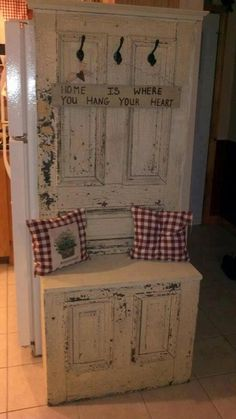 Turn an old door into a seat/bench!