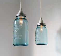 Sea Glass Mason Jar Pendant Lights - set of 2 hanging antique blue BALL perfect mason jar lighting fixtures - BootsNGus Lamps. $100.00, via Etsy.
