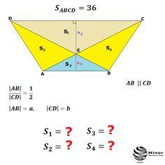ABCD is an isosceles trapezium. The base trapezium  AB / CD =1/2. Calculate the field of triangles: CED, ABE, AED, BEC.  Pole trapezu równoramiennego jest równe 36, a stosunek długości podstaw wynosi 1:2. Oblicz pola czterech trójkątów, na które dzielą ten trapez jego przekątne.