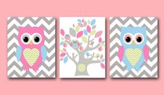Owl Decor Owl Nursery Baby Girl Nursery decor by artbynataera, $60.00