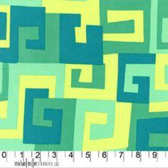 Michael Miller House Designer - Mod Prints - Maze in Lagoon