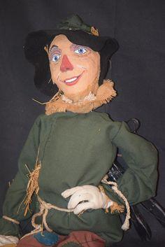 Vintage Doll Scarecrow Wizard of Oz Marionette Puppet Papier Mache Large