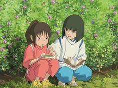 Haku and Chihiro - Spirited Away - Studio Ghibli / Hayao Miyazaki Hayao Miyazaki, Spirited Away Haku, Miyazaki Spirited Away, Spirited Away Movie, Studio Ghibli Spirited Away, Film Manga, Anime Manga, Anime Art, Film Animation Japonais