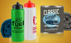 Creative idea for T-shirt promotions: Stuff a tee in a branded can or sports bottle.