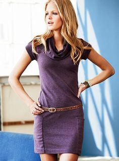 cotton/cashmere cowlneck dress