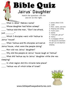 Jairus' Daughter. Bible Stories For Kids, Bible Study For Kids, Bible Lessons For Kids, Bible Games, Bible Activities, Bible Trivia, Bible School Crafts, Bible Crafts, Jairus Daughter