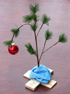 Charlie Brown's Christmas Tree (That's Linus' blanket helping to hold it up).