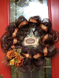 Decorative mesh wreath for autumn.