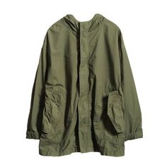 HOODED MILITARY POPLIN ANORAK- GREEN ($595) ❤ liked on Polyvore featuring outerwear, jackets, tops, coats & jackets, hooded military jacket, hooded anorak, green anorak coat, military inspired jacket and poplin jacket