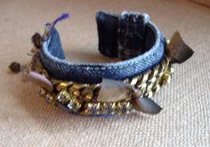 Denim bracelet cuff/heavy brass chainsilk by Rhapsodybeaddesigns