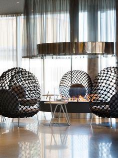 Black Chairs - Fireplace - Comfort Hotel Bergen Airport
