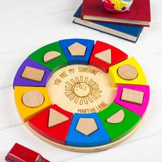 Colourful Circle Shape Sorter - Personalised Toddler Gift - Personalised Toys - Personalized Toy - Personalized Baby Toy by auntiemims on Etsy https://www.etsy.com/listing/455555304/colourful-circle-shape-sorter
