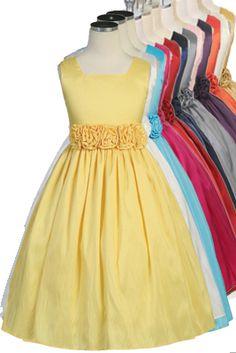 Sweet Kids Girls Sleeveless Flower Girl Dress with Rolled Flower Waistband (Plum) Girls Formal Dresses, Little Girl Dresses, Cute Dresses, Party Dresses, Toddler Dress, Baby Dress, Yellow Flower Girl Dresses, Flower Girls, Yellow Dress