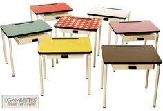 retro school-style desks. Les Gambettes collection via Paul+Paula.