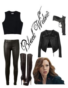 Black Widow by fangirling0ver-lae on Polyvore featuring AG Adriano Goldschmied, Chinese Laundry and Smith & Wesson